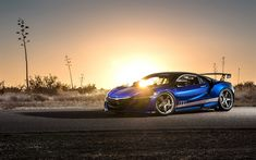 Download wallpapers Acura NSX, 2017, tuning, blue sports coupe, racing car, Honda