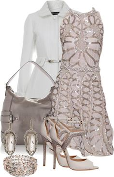 Soft and elegant is this, soft and flowing taupe chiffon dress with beaded sequin details, a white lace trim coat, bone & taupe leather open-toe pumps with snakeskin detail and a light colored gunmetal metallic leather tote.