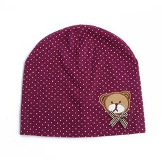 Boys Polka Dot Bear Print Cotton Beanie Hat
