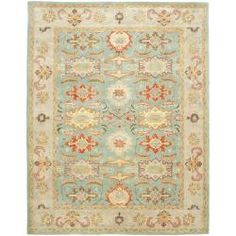 @Overstock - An intricate Oriental design and dense, thick wool pile highlight this handmade rug. This hand crafted rug uses some of the softest wool available that is not only pleasing to the eye but just as desirable to the touch.http://www.overstock.com/Home-Garden/Handmade-Treasures-Light-Blue-Ivory-Wool-Rug-12-x-18/6543549/product.html?CID=214117 $1,099.99