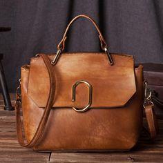 Handcrafted Women Leather Handbag Messenger Satchel in Vintage Brown C205 - LISABAG