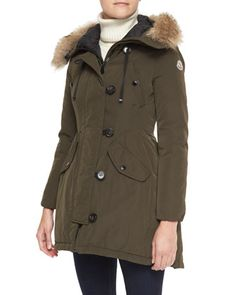 Parka with Fur-Trim Hood by Moncler at Neiman Marcus.
