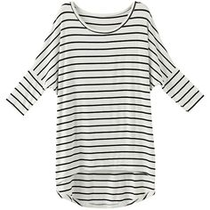 Asymmetric Striped Long-sleeves T-shirt ($18) ❤ liked on Polyvore featuring tops, t-shirts, long sleeve tees, white tee, longsleeve t shirts, white t shirt and white long sleeve t shirt