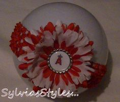 Angels Baseball Flower and Free Headband by sylviassports on Etsy, $6.99 Kylie needs this