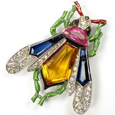 Trifari 'Alfred Philippe' Pave Enamel Pink Topaz and Five Sided Citrine and Sapphire Crystals Fly Pin Clip