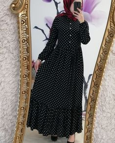 🤗 Efsane Modelimizin Renkleri GUNCELLENDI 😍 . ➡️ Puantiyeli Prenses Viskon Elit Elbise 79.90 TL 🤗😊 ✔ 👈TUM RENKLER IÇIN SOLA KAYDIR 👈 .… Mode Abaya, Mode Hijab, Islamic Fashion, Muslim Fashion, Abaya Fashion, Fashion Dresses, Casual Formal Dresses, Dress Formal, Dress Long