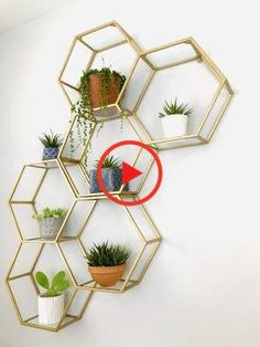 Gold and Glass Honeycomb Wall Shelf by World Market Bedroom Decoration bedroom wall decor Diy Wand, Cute Dorm Rooms, Cool Rooms, Gold Bedroom Decor, Decorating Walls In Bedroom, Bedroom Wall Decorations, Kitchen Wall Decorations, Balcony Decoration, Glam Bedroom