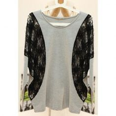 Ladylike Sweet Style Scoop Neck Dolman Sleeves Openwork Lace Jacquard Embellished Loose-Fitting T-Shirt For Women