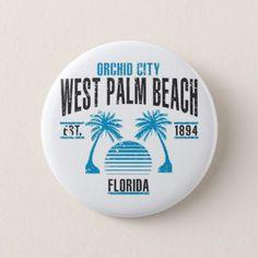 #West Palm Beach Pinback Button - #beach #travel #beachlife