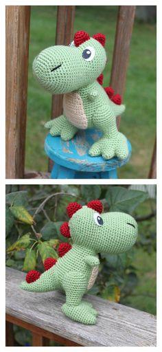 Crochet Amigurumi T-Rex Dinosaur Rattle Free Pattern