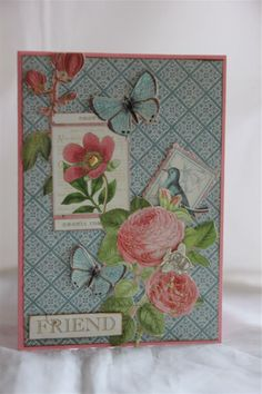 graphic 45 botanical tea paper collection, stampin up cardstock, fussy cutting involved!