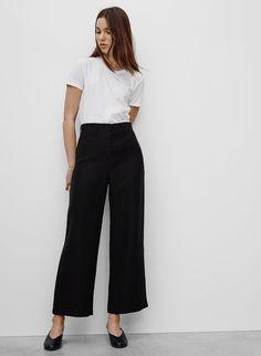 wide leg pants + tee / t-shirt / black + white