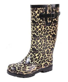 Another great find on #zulily! Tan Leopard Rain Boot #zulilyfinds