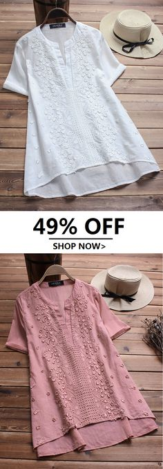 Plus Size Vintage Embroidered Short Sleeve V-neck Shirts.Sizes From US 8 To US 20 for Options.Worldwide Shipping!#newchic#tops#blouse#shirts