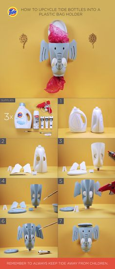 How to Upcycle Tide Bottles Into a DIY Plastic Bag Holder: (1) Rinse bottles. Draw lines for tusk holes, lid, hinge slits, ear slits and hook hole on one bottle. Draw ears and lid hinge on second. (2) Cut out pieces. Remove spouts from second and third bottle. (3) Prime bottle and pieces with white spray primer. (4) Paint bottle and pieces with acrylic paint. (5) Hot glue tusks through front holes. Attach ears. (6) Paint face. (7) Attach hinge piece to back hinge slit and lid hinge slit.