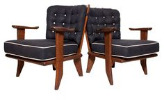 Pair of Guillerme et Chambron Oak Spindle Chairs c.1960