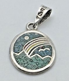 Taxco Sterling Silver Turquoise Inlay Pendant Oval Ocean Rainbow Bird Sun TO 48  #Taxco