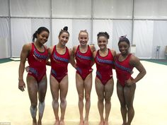 The U.S. women's gymnastics team is currently training in Rio. Pictured left to right: Gabby Douglas, Aly Raisman, Madison Kocian, Laurie Hernandez and Simone Biles All Around Gymnastics, Team Usa Gymnastics, Gymnastics Quotes, Gymnastics Pictures, Artistic Gymnastics, Olympic Gymnastics, Olympic Team, Gymnastics Girls, Gymnastics Leotards