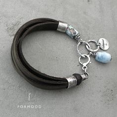LEATHER STRAP BRACELET With SILVER & GEMSTONES - product images of