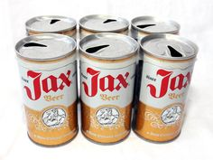 Vintage New Orleans - Authentic and Original Jax Beer Straight Steel Pull Tab Cans - A New Orleans Tradition