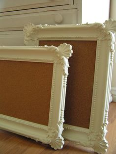 thrifted frames + cork-board = pin boards for over desk - add fabric over the cork and make it prettier ~ could also put peg board in this to hang kitchen or office, sheet metal if you want a magnet board.... possibilities
