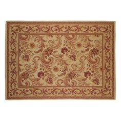 Baroque Traditional Burgundy Cotton and Wool Rug