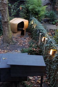 View over the backyard at the  Eenmaal pop-up restaurant for one at Lensvelt in Amsterdam