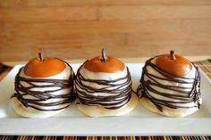 Chocolate Caramel Dipped Pears - Seckel pears covered in caramel dipped in chocolate.
