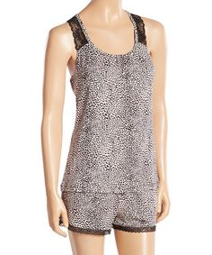This Black Cheetah Delicate Short Pajama Set is perfect! #zulilyfinds