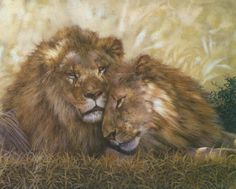 Beautiful oil painting of a pair of lions. Animal Series by Cyan Art Collection. Free shipping worldwide.