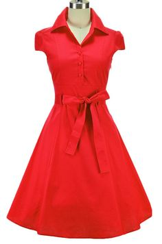 soda fountain pinup day dress - red