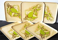 Vintage Metal Tray Plate Set Plate Square by vintageeclecticity, $34.00