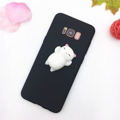 3D Cute Animal Cat Bear Panda Soft Black Squishy Phone Case For Samsung Galaxy A3 A5 A7 J3 J5 J7 2016 2017 S8 Plus Case Silicone //Price: $8.95 & FREE Shipping // #catshop