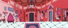 """Background art for """"Foster's Home for Imaginary Friends"""" in gouache by Carol Wyatt."""