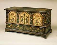 Dower Chest, ca 1780; Pennsylvania; Yellow pine, tulip poplar