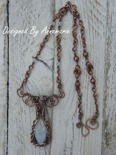 Moonstone Wire Wrapped Copper Pendant Necklace £45.00