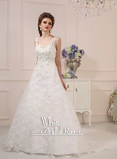 Sweetheart with Lace Strap Wedding Dress, Lace with Crystal Wedding Gown, Custom Bridal Wedding Dresses $540.76 #handmade
