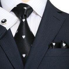 Black and White King of Hearts Necktie Set JPM1862W – Toramon Necktie Company