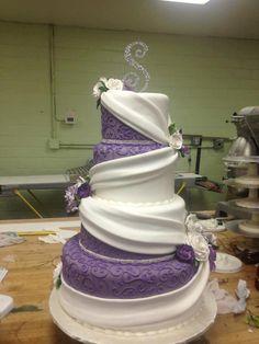 Purple and white draped wedding cake #purpleweddings #weddingcake #indianweddings
