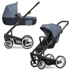 Mutsy Igo Farmer Stroller, Seat, and Carry Cot - Fishbone Blue Sky