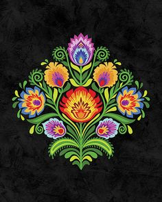 "Wycinanki Giclee Art Print ""Joy"" Folk Colors on Black by Mary Tanana Boho Pattern, Pattern Art, Folk Art Flowers, Flower Art, Folk Embroidery, Embroidery Patterns, Polish Embroidery, Polish Folk Art, Russian Folk Art"