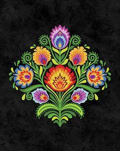 "Wycinanki Giclee Art Print ""Joy""  Folk Colors 8x10 on Black by Mary Tanana"