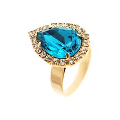 Pear-Cut Turquoise Crystal Ring ($11) ❤ liked on Polyvore featuring jewelry, rings, women, band jewelry, talon rings, turquoise rings, gold tone rings and pear cut ring