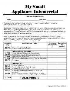 Student Project Sheet | kitchen equipment infomercial
