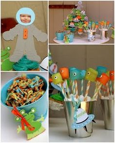 """""""Marsh""""ian Alien Marshmallow Pops, Alien and Spaceship Cupcake Toppers, an Astronaut for the Birthday Boy and Chocolate Covered pretzels.  The perfect Pinwheel Lane party!"""