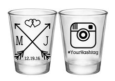 "100x Personalized Shot Glasses Custom Wedding Favors | 1.75 oz Clear | Love Arrows (1C) Hashtag | Choose Imprint Color | by ""ThatWedShop"" on Etsy 