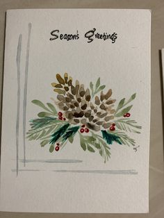 Acorn and pine cones and holly and leaves. Painted Christmas Cards, Watercolor Christmas Cards, Christmas Drawing, Diy Christmas Cards, Christmas Paintings, Watercolor Cards, Xmas Cards, Christmas Art, Christmas Projects