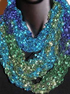 Exotic Peacock Colored scarf- DEB