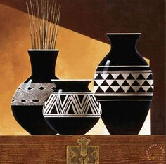 Tangletown Fine Art Patterns In Ebony II by Keith Mallett Giclee Print on Gallery Wrap Canvas, 35 Worli Painting, Bottle Painting, Bottle Art, Pottery Painting Designs, Pottery Designs, Paint Designs, Painted Flower Pots, Painted Pots, Flower Vases