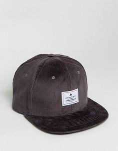 ASOS Snapback Cap In Charcoal Cord - Gray
